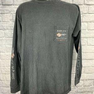 Harley Davidson Black Long Sleeve Pocket T XXL